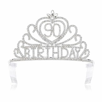 DcZeRong Queen 90 Birthday Tiara Crowns Women Rhinestone 90th Birthday Queen Tiaras Crowns Silver
