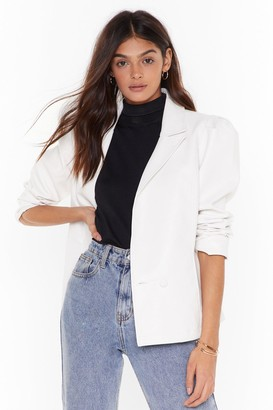 Nasty Gal pu double breasted puff sleeve blazer