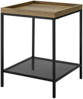 Hewson 18In Square Tray Side Table With Mesh Metal Shelf