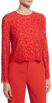 Alice + Olivia Pasha Floral-Lace Bell-Sleeve Top