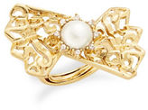 Oscar de la Renta Faux Pearl Fan Cocktail Ring