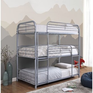 Bunce Twin Triple Bed Zoomie Kids Bed Frame Color: Silver