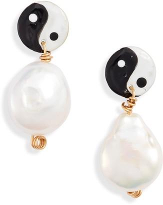 Susan Alexandra Yin Yang Freshwater Pearl Earrings