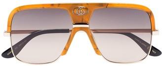 Gucci Orange Gradient Lense Aviator Sunglasses