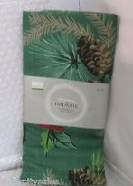 Martha Stewart Golden Traditions Napkins Set Of 2 Pine Cones & Holly 20x20