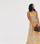 Parisian Petite cami strap maxi dress in yellow floral
