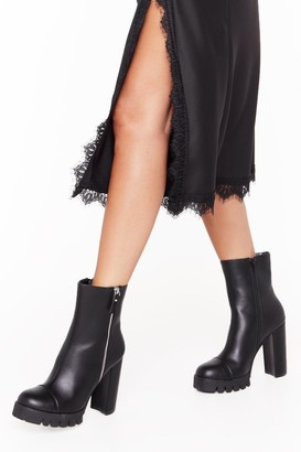 Nasty Gal Womens That's Zip Faux Leather Cleated Boots - Black