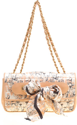 Chanel Peach Illustration Print Fabric and Leather Scarf Vintage Flap Bag