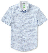 HUGO BOSS BOSS Green Bhillo Slim-Fit Printed Short-Sleeve Woven Shirt