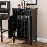 Baxton Studio Easton Contemporary Dark Brown Wood Finish Wine Cabinet