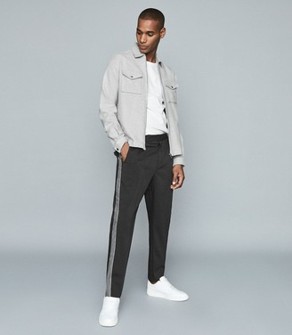 Reiss Ken - Tapered Trousers With Side Stripe in Black