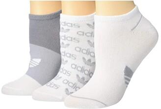 adidas Originals Graphic No Show Socks 3-Pack (Light Onix/Clear Onix/White) Women's No Show Socks Shoes
