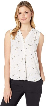 Vince Camuto Sleeveless Whimsical Petals V-Neck Blouse (Pearl Ivory) Women's Blouse