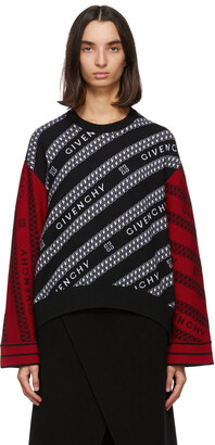 Givenchy Black & Red Wool Chain Sweater