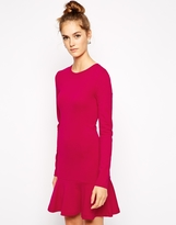 French Connection Orchard Solid Dress in Jersey with Dropped Waist