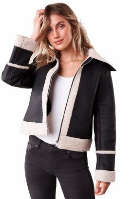 Sugar Lips Sugarlips Women's Embers Vegan Leather Sheepskin Jacket