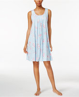 Miss Elaine Pintucked Floral-Print Knit Nightgown