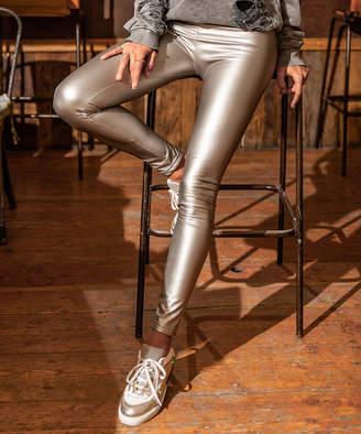 Cck Style CCK Style Women's Leggings Silver - Silver Metallic Leggings - Women