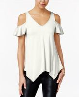 Almost Famous Juniors' Ruffle-Sleeve Cold-Shoulder Top