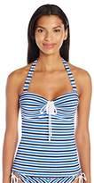 Jessica Simpson Women's Maritime Stripe Underwire Tie Halter Tankini