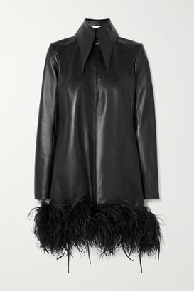 16Arlington Michelle Feather-trimmed Leather Mini Dress - Black