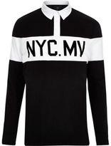 River Island Mens Black print long sleeve polo shirt