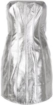 David Koma metallic fitted strapless dress
