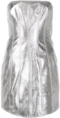 David Koma metallic fitted strapless dress