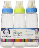 NUK Gerber First Essential Clear View BPA Free Plastic Nurser With Latex Nipple, 9 Ounce, 3 Pack