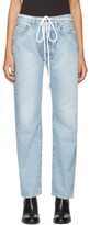 Off-White Blue Diagonal Boyfriend Jeans
