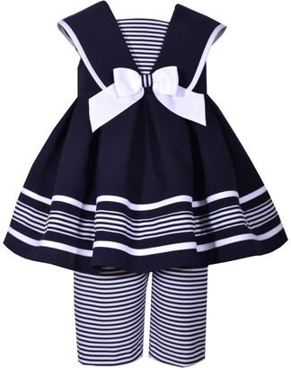 Bonnie Jean Baby Girl Sleeveless Striped Box Pleat Skirt And Matching Capri Pant Set