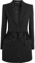 Alexander McQueen Bead-embellished Tulle-paneled Crepe Blazer - Black