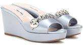 Miu Miu Satin Wedge Sandals With Crystal Embellishments