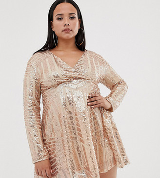 Club L London Plus Plus sequin disc skater dress-Pink