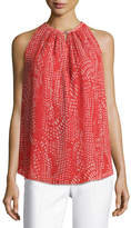 Ramy Brook Piper Sleeveless Pleated Ibiza Geo-Print Top, Red Pattern