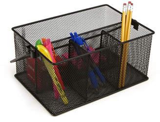 Mind Reader Storage Basket Organizer, Utensil Holder, Forks, Spoons, Knives, Napkins, Perfect for Desk Supplies, Pencil, Pens, Staples Metal Mesh