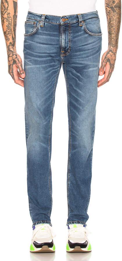 Nudie Jeans Thin Finn Jean in Mid Blue Ecru | FWRD