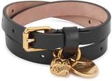 Alexander Mcqueen Black Leather Wrap Bracelet