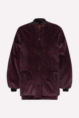 BLAZÉ MILANO Downtown Cotton-corduroy Bomber Jacket - Dark purple