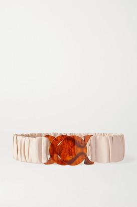 Black & Brown Net Sustain Jessica Ruched Leather Waist Belt - Cream