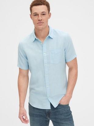 Gap Short Sleeve Shirt in Linen-Cotton