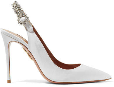 Aquazzura Portrait Of A Lady Crystal-embellished Grosgrain Slingback Pumps - White