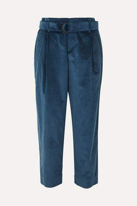 Brunello Cucinelli Oversized Cropped Cotton And Cashmere-blend Corduroy Pants - Blue