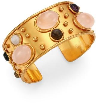 Sylvia Toledano Byzantyne 22K Goldplated, Rose Quartz, Amethyst & Labradorite Cuff