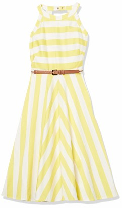 Eliza J Women's Striped Fit and Flare Halter Dress