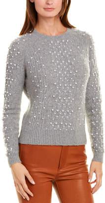 Minnie Rose Pearl-Trim Cashmere-Blend Sweater