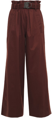 Brunello Cucinelli Bead-embellished Belted Cotton-blend Twill Wide-leg Pants