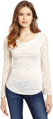 Star Vixen Women's Long Sleeve Lace and Slub Cowl Top