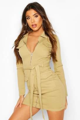 boohoo Denim Utility Belted Dress