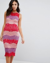Paper Dolls Multi Stripe Lace Midi Dress